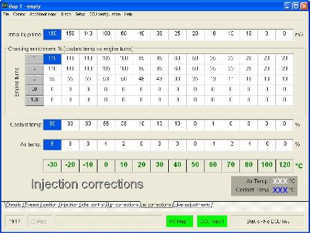 Injector Corrections screen - used during Cold Start calibration
